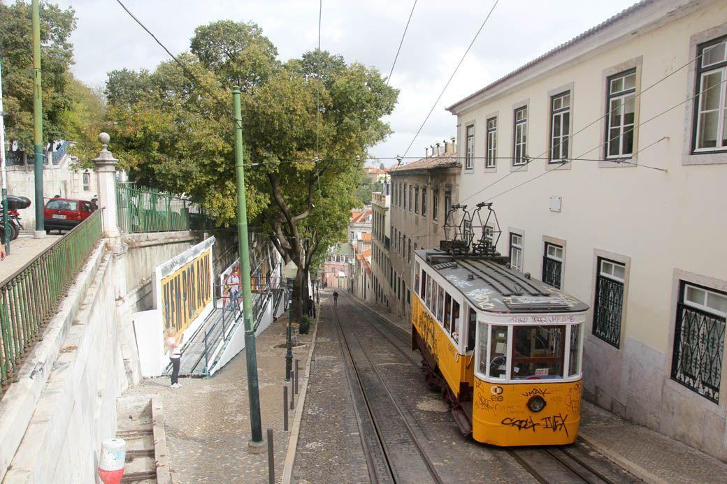 Желтый фуникулер в Лиссабоне