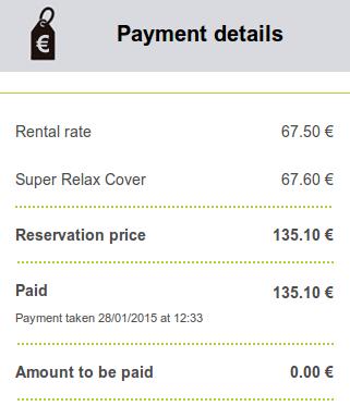 goldcar rental receipt стоимость