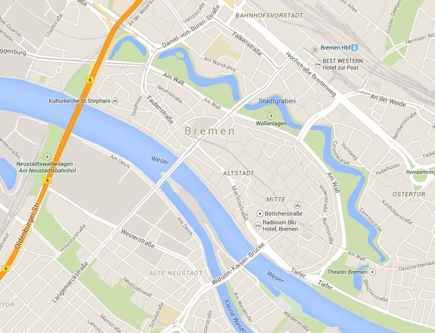 Карта центра Бремена