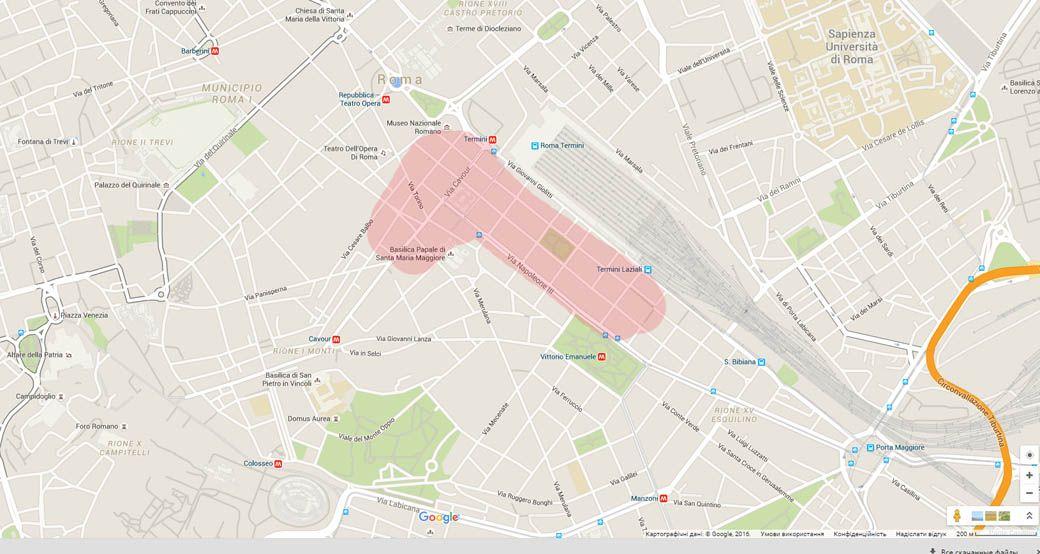 Китайский квартал в Риме - Карта