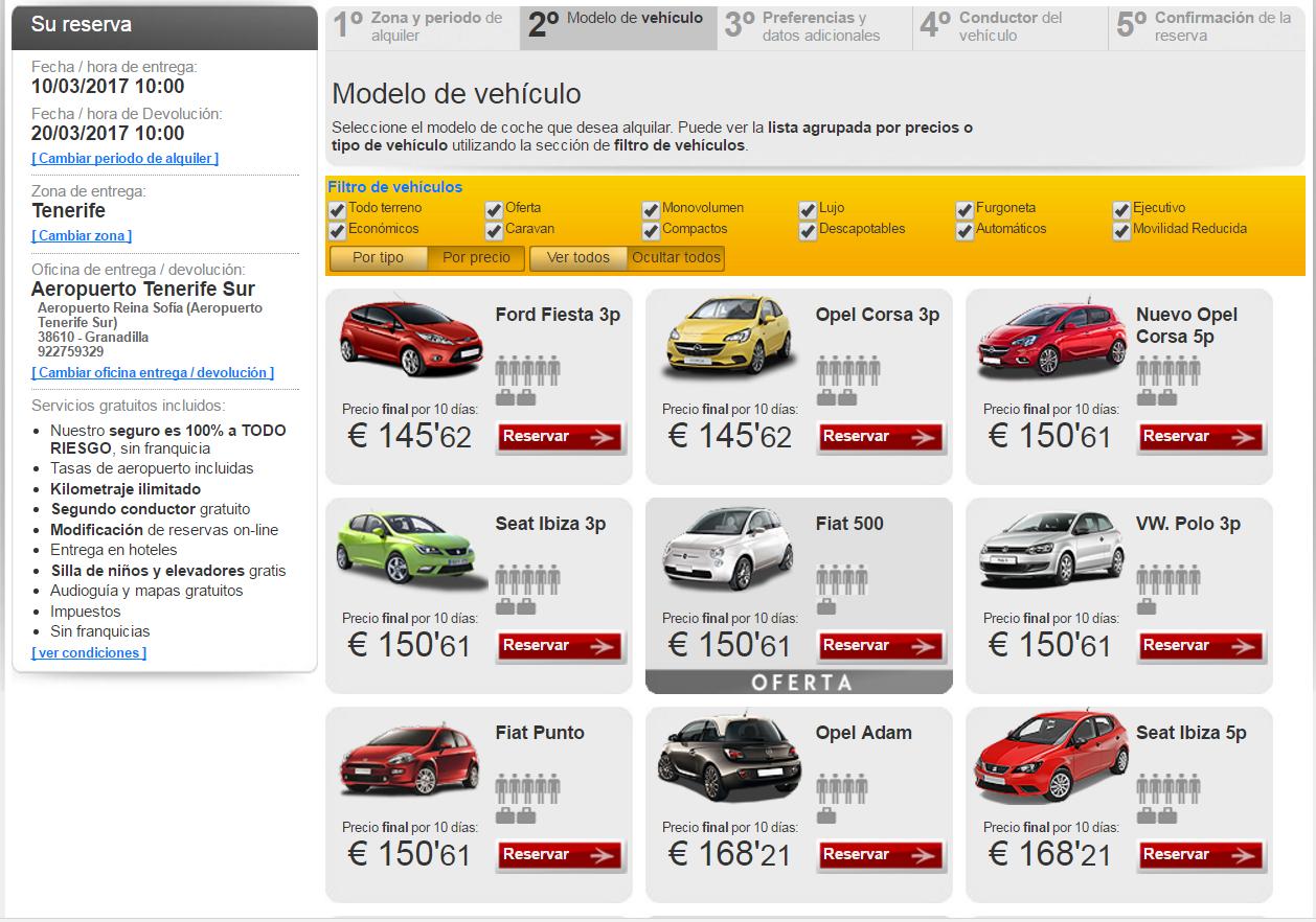 Цены на аренду авто на Тенерифе