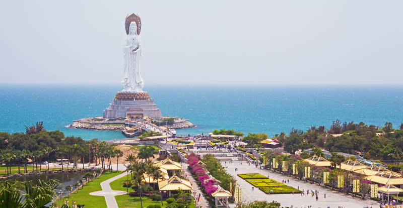 Quan Yin (goddess of mercy) in center of Buddhism of Sanya city, Hainan province, China.