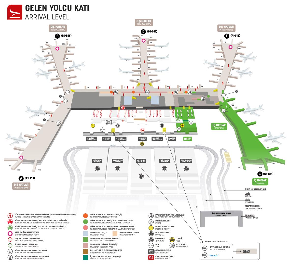 карта аэропорта стамбула зона прилетов