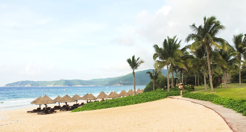 sand beach on Hainan Island in summer day, China