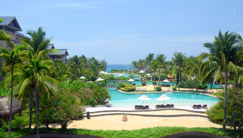 Pools on the beach in South Chinese Sea, China, Hainan, Sania